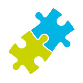 Jigsaw puzzle of two pieces. Team cooperation, teamwork or solution business theme. Simple flat vector illustration.
