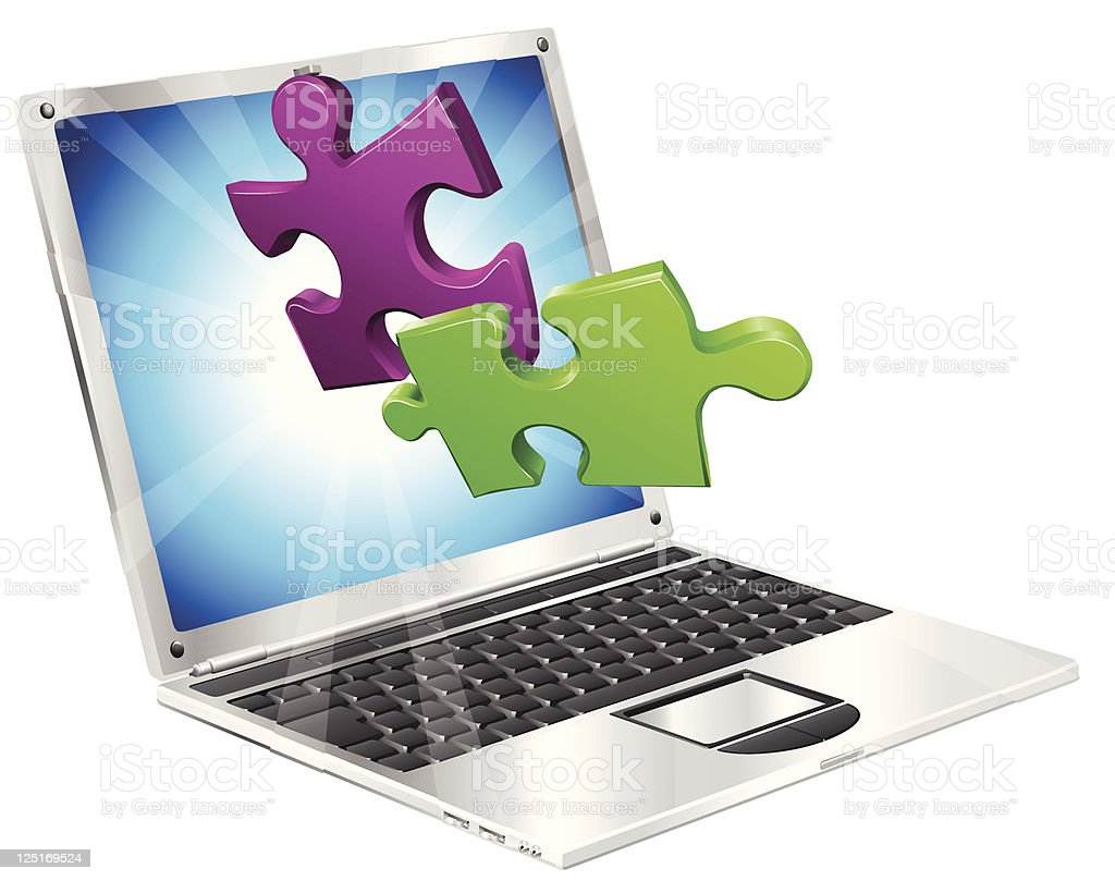 Jigsaw puzzle pieces flying out of laptop computer royalty-free stock vector art