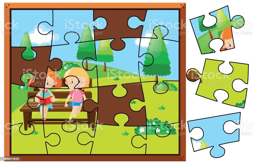 Jigsaw Puzzle Pieces For Kids Reading In Park Royalty Free