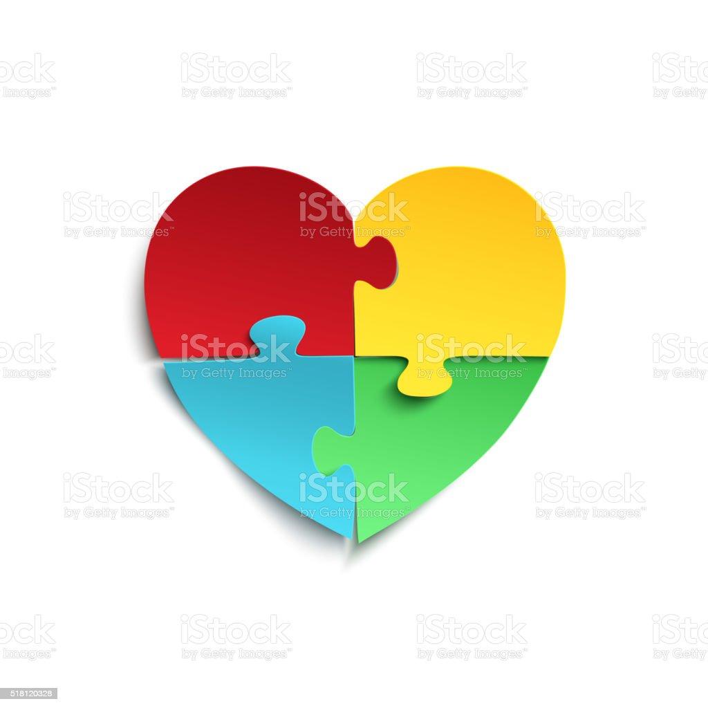Quebra-cabeça de peças em forma de coração. - ilustração de arte em vetor