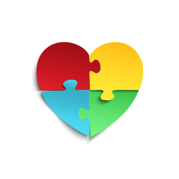 Jigsaw puzzle pieces in form of heart. vector art illustration