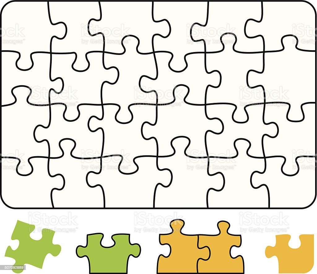 Jigsaw Puzzle Rectangle vector art illustration