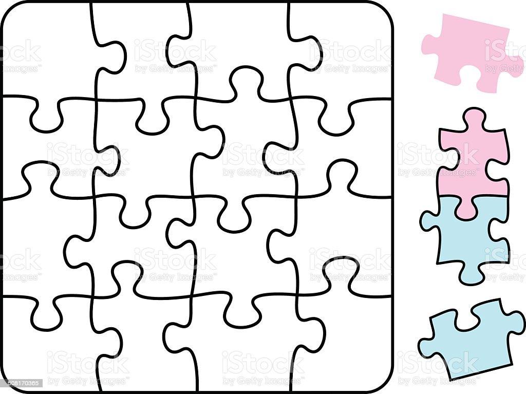Jigsaw Puzzle Square vector art illustration