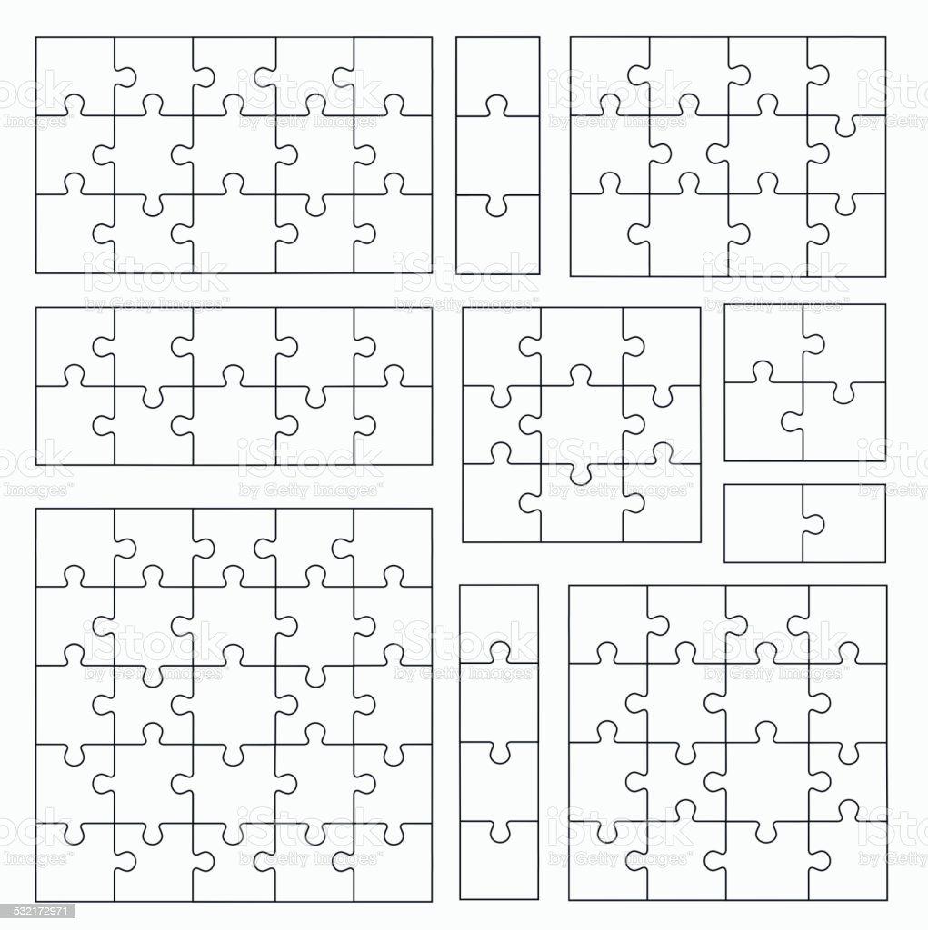 ジグソーパズルのテンプレートの背景にしていますパズルのピースセット