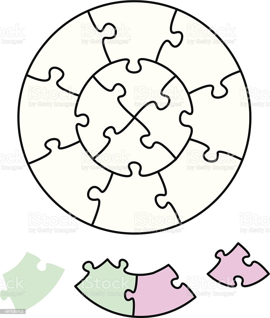 Jigsaw Puzzle Two Circles vector art illustration