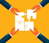 Four businessman with jigsaw puzzle , Concept business vector illustration.