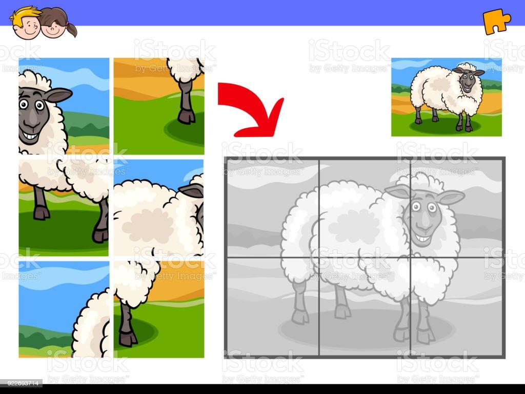 羊農場の動物キャラクターのジグソー パズル - おとぎ話のベクターアート
