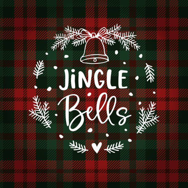 Jingle bells Christmas greeting card, invitation with fir tree wreath, bell and falling snow. Hand lettered white text over tartan checkered plaid. Winter vector calligraphy illustration background. Jingle bells Christmas greeting card, invitation with fir tree wreath, bell and falling snow. Hand lettered white text over tartan checkered plaid. Winter vector calligraphy illustration background. bell stock illustrations