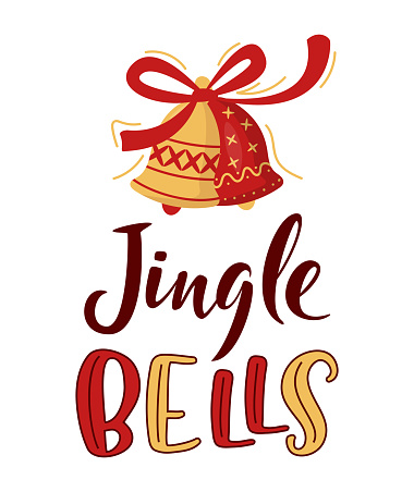 Jingle Bells hand lettering sign with decorated bells