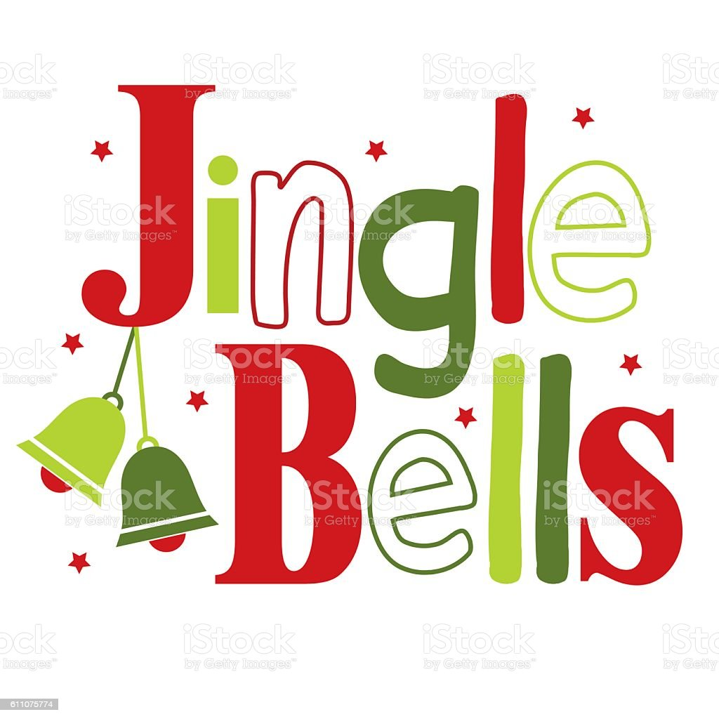 Jingle bells typography design vector art illustration