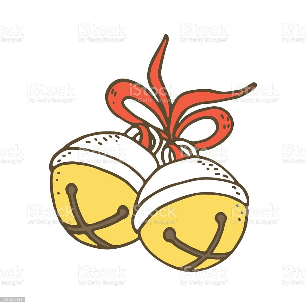 Jingle bells with bow on a white background vector art illustration