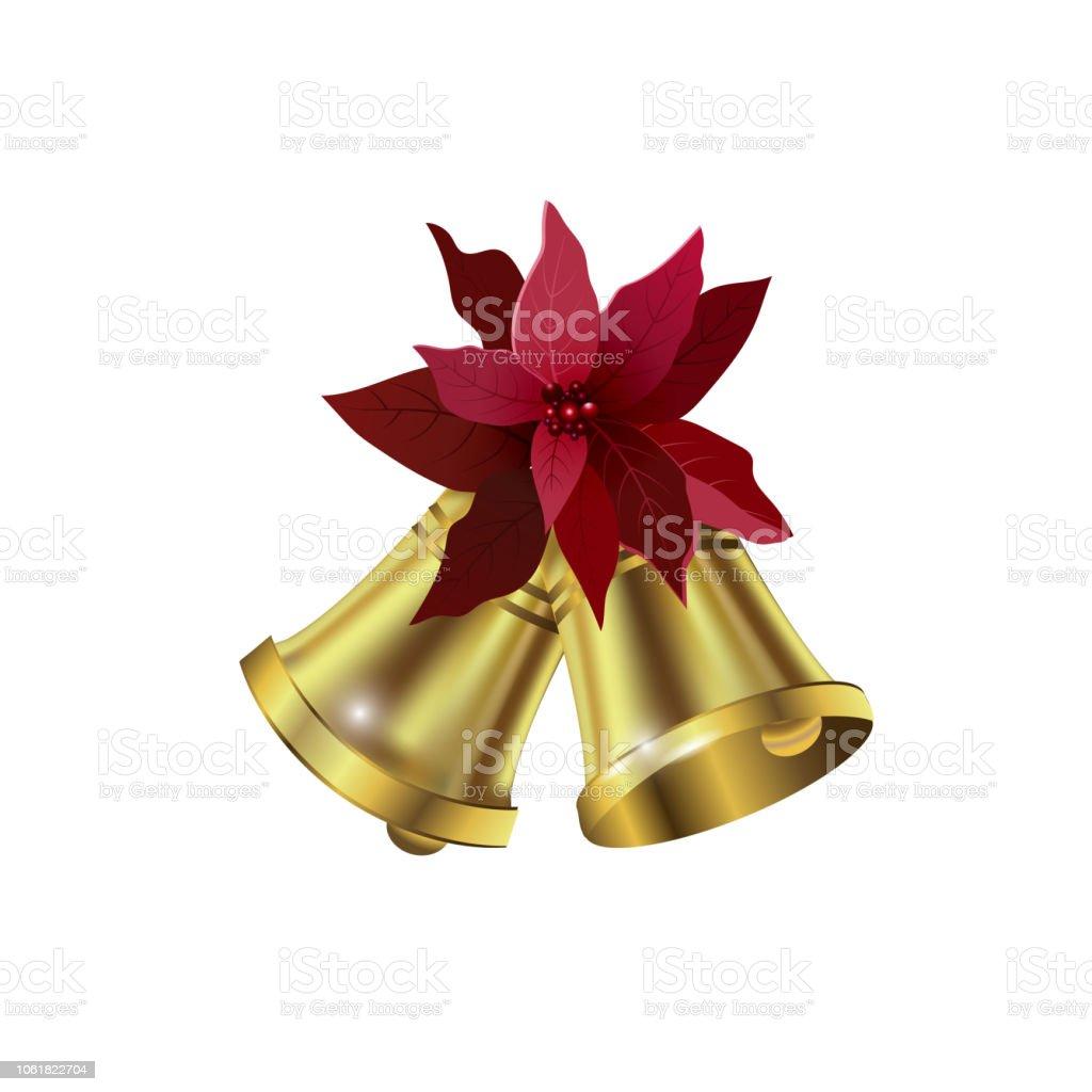 Jingle Bells Mit Weihnachtsstern Bogen Auf Einem Weißen Hintergrund ...