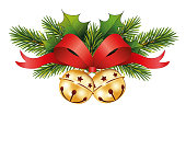 Jingle bells with red bow and Fir branches Christmas icon of jingle bells