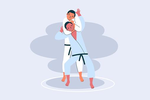 Jiu-jitsu athletes fighting illustration Vector