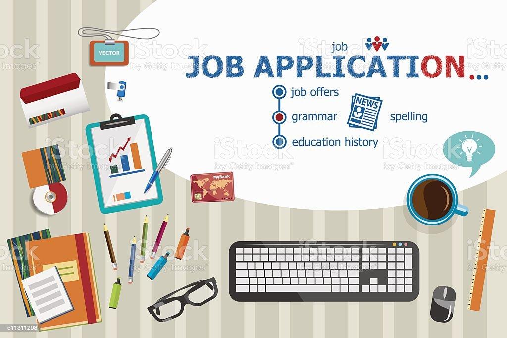 Job application design and flat design illustration concepts