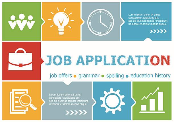 Job application design illustration concepts for business vector art illustration