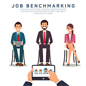 Job Benchmarking App Flat Vector Banner Template. Comparing Candidates Proficiency and Efficiency Using Computer Technologies. Recruiting Agency, HR, Headhunting Company Poster Layout, Text Space