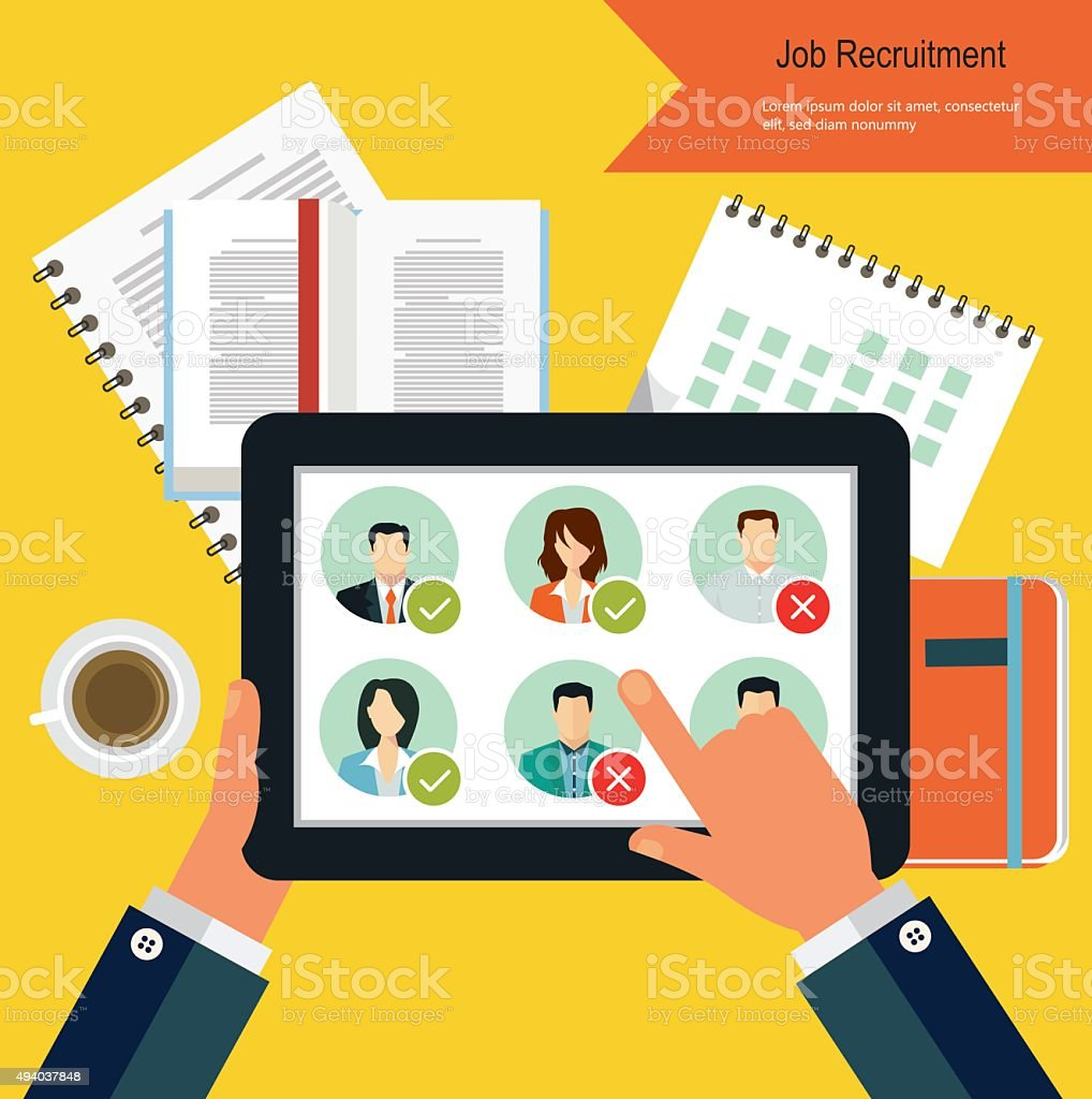 Job candidate selection process vector art illustration
