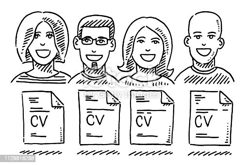 Job Candidates Portraits CV Document Drawing