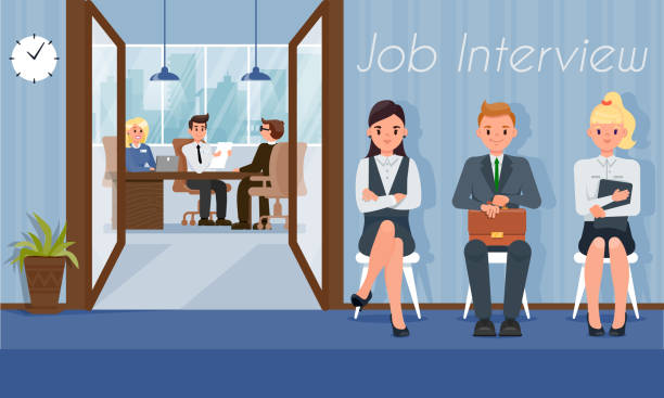 ilustrações de stock, clip art, desenhos animados e ícones de job candidates wait interview turn with hr manager - job interview