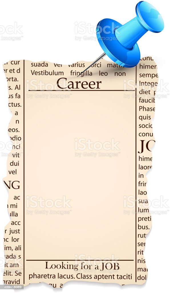 Job Classified in Newspaper royalty-free stock vector art