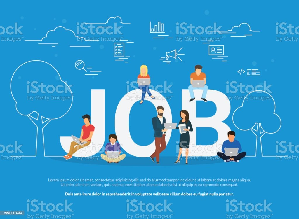 Job concept illustration of business people using devices for job searching and professional growth vector art illustration