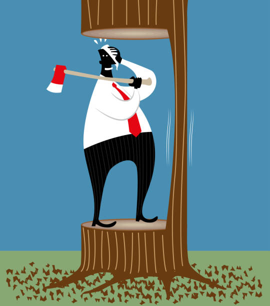 Job cuts A businessman dangerously playing with an axe. careless stock illustrations