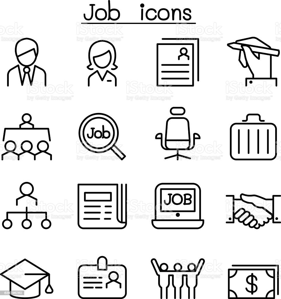 Line Art Jobs : Job employment icon set in thin line style stock vector