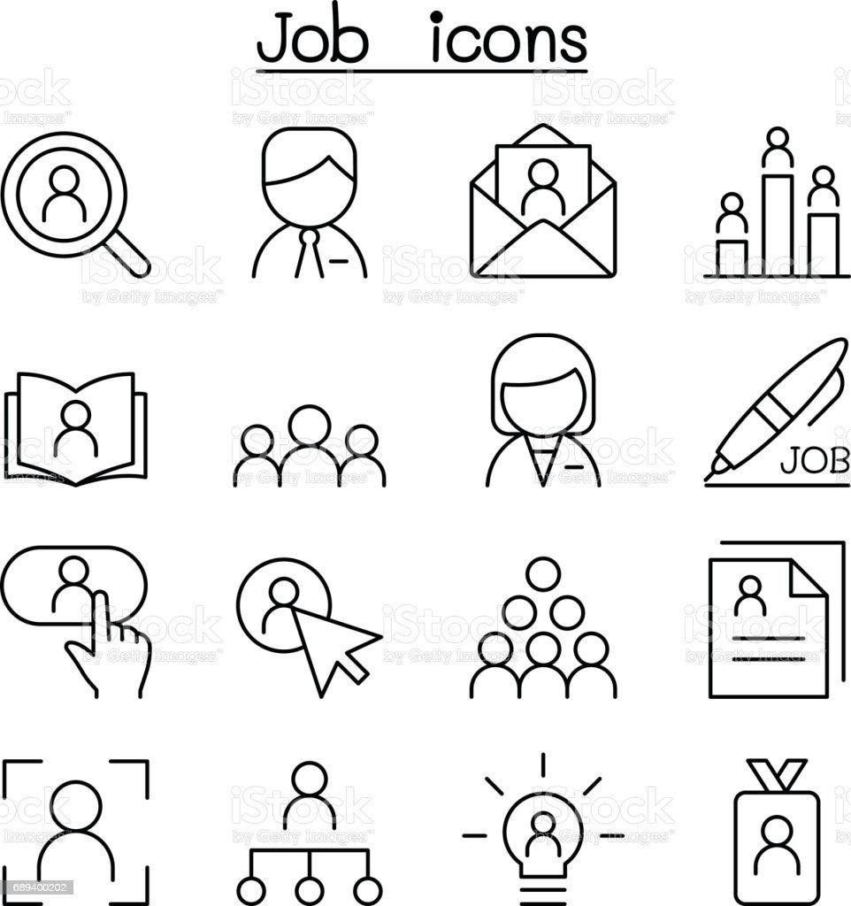 Job & Employment icon set in thin line style vector art illustration