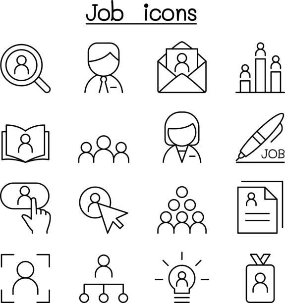 bildbanksillustrationer, clip art samt tecknat material och ikoner med jobb & sysselsättning ikonuppsättning i tunn linjestil - job interview