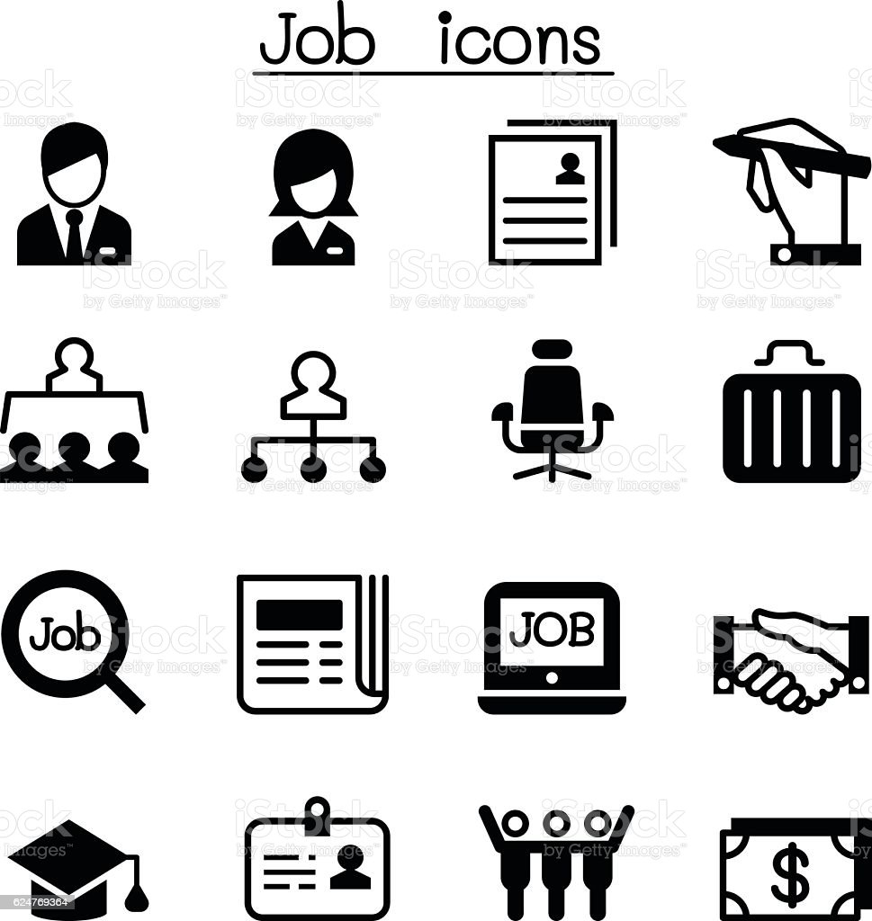 Job employment icon set stock vector art more images of for Michaels arts and crafts jobs application form