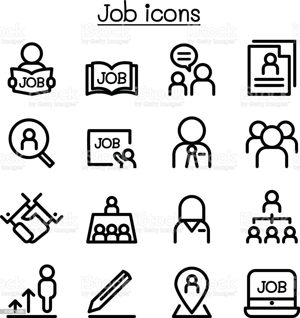 Line Drawing Jobs : Job icons set in thin line style stock vector art more