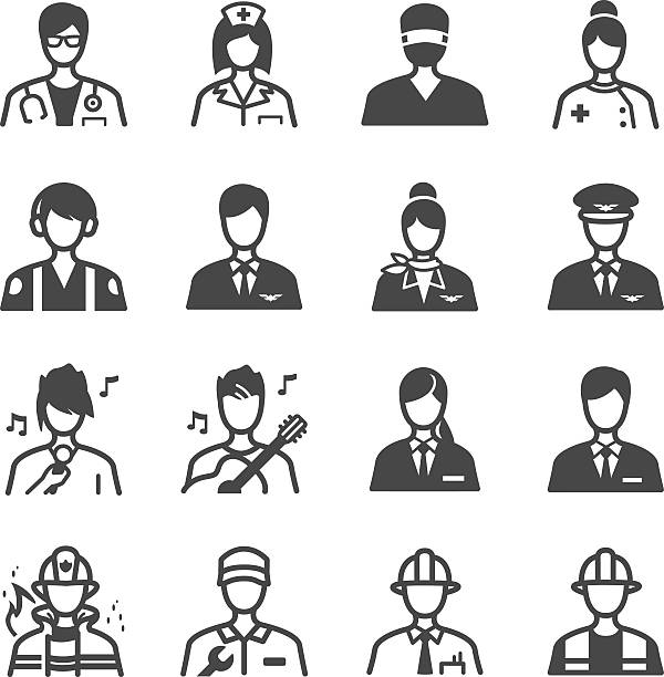 job icons set - surgeon stock illustrations, clip art, cartoons, & icons
