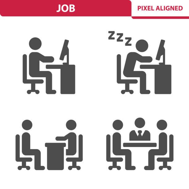 ilustrações, clipart, desenhos animados e ícones de ícones de trabalho - carteira