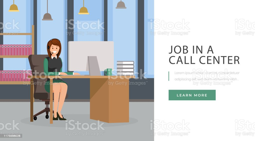 Job In Call Center Landing Page Open Vacancy Job Position At Client Service Helpdesk Website Design Layout Call Center Operator Secretary Personal Assistant Working With Pc At Office Character Stock Illustration