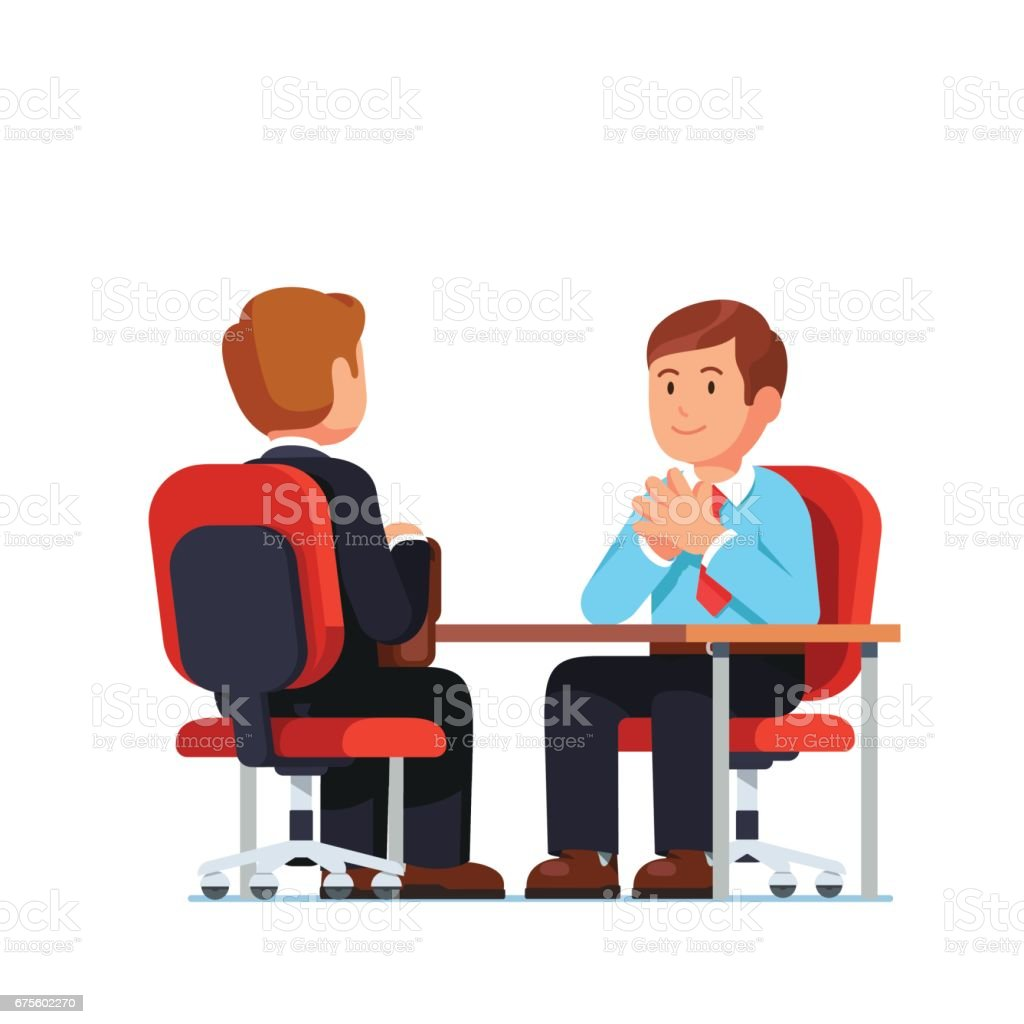 Job interview between HR officer and candidate vector art illustration