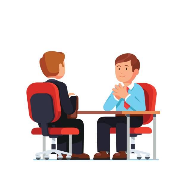 bildbanksillustrationer, clip art samt tecknat material och ikoner med anställnings intervju mellan hr-handläggare och kandidat - job interview
