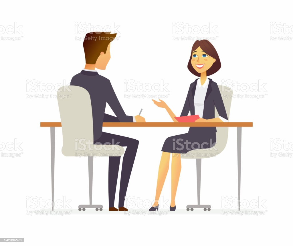 Job interview - cartoon people character isolated illustration job interview cartoon people character isolated illustration - immagini vettoriali stock e altre immagini di abbigliamento da lavoro royalty-free