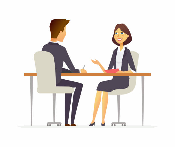 Job interview - cartoon people character isolated illustration Job interview - cartoon business people character isolated illustration on white background. An image of a young man, HR officer in smart clothes speaking to a smiling woman, sitting at the table two people stock illustrations