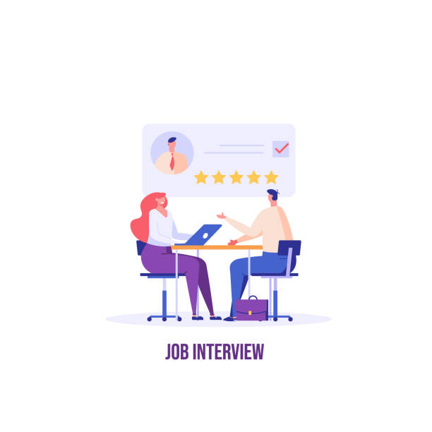 Job interview concept. Employee candidate with good resume. Recruitment or headhunting agency. Concept of recruitment, headhunting, employment. Vector illustration for UI, web banner, app Job interview concept. Employee candidate with good resume. Recruitment or headhunting agency. Concept of recruitment, headhunting, employment. Vector illustration for UI, web banner, app recruiter stock illustrations
