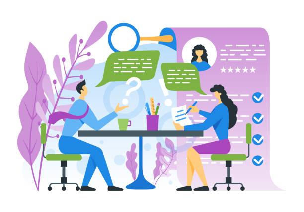ilustrações de stock, clip art, desenhos animados e ícones de job interview concept - job interview