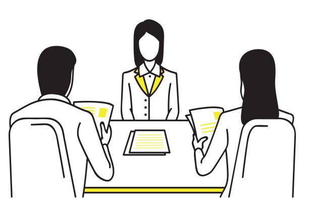 bildbanksillustrationer, clip art samt tecknat material och ikoner med jobb intervju koncept - job interview