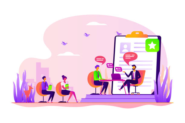 Job interview concept vector illustration Employee hiring. Recruiter and vacancy candidates. Personnel recruitment. HR management. Job interview, employment process, choosing a candidate concept. Vector isolated concept creative illustration recruiter stock illustrations