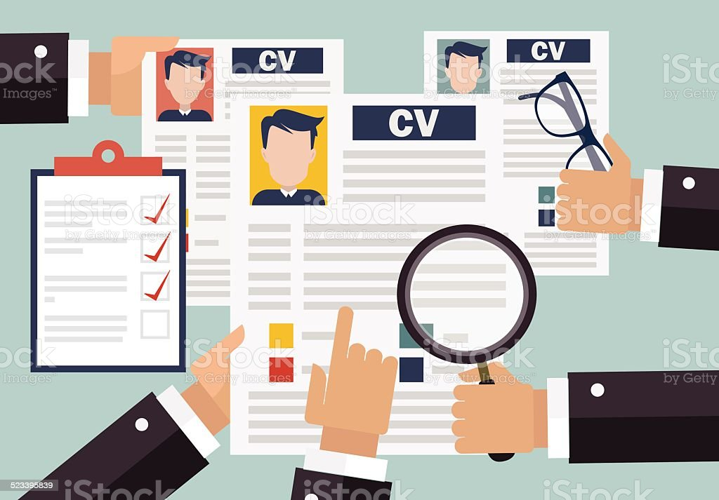 Job interview Konzept mit business-Lebenslauf wieder - Lizenzfrei Anwerbung Vektorgrafik
