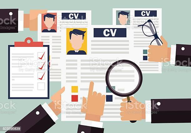 Job Interview Konzept Mit Businesslebenslauf Wieder Stock Vektor Art und mehr Bilder von Anwerbung