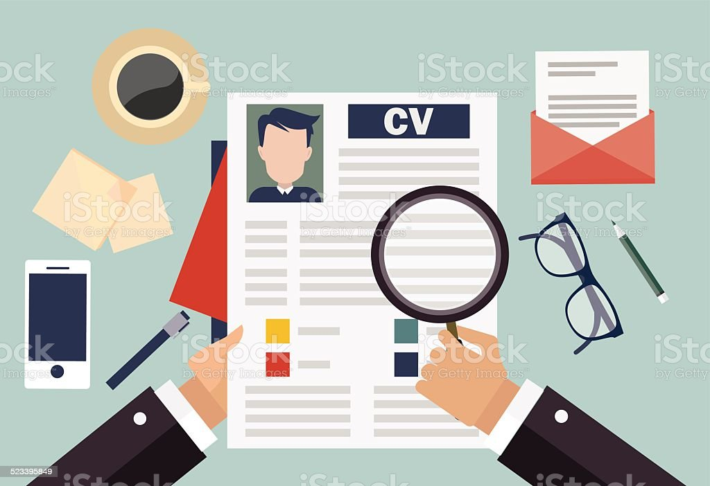 Job interview concept with business cv resume vector art illustration