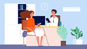 Job interview. Female seekers, HR manager and woman. Office conversation, business recruitment or testing vector illustration. Hr interview, hiring candidate, job female manager