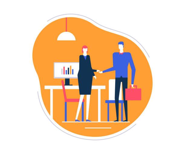 bildbanksillustrationer, clip art samt tecknat material och ikoner med anställningsintervju - platt design stil färgglada illustration - job interview