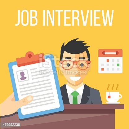 Job interview flat illustration. Flat design concepts for web banners, web sites, printed materials. Creative vector illustration