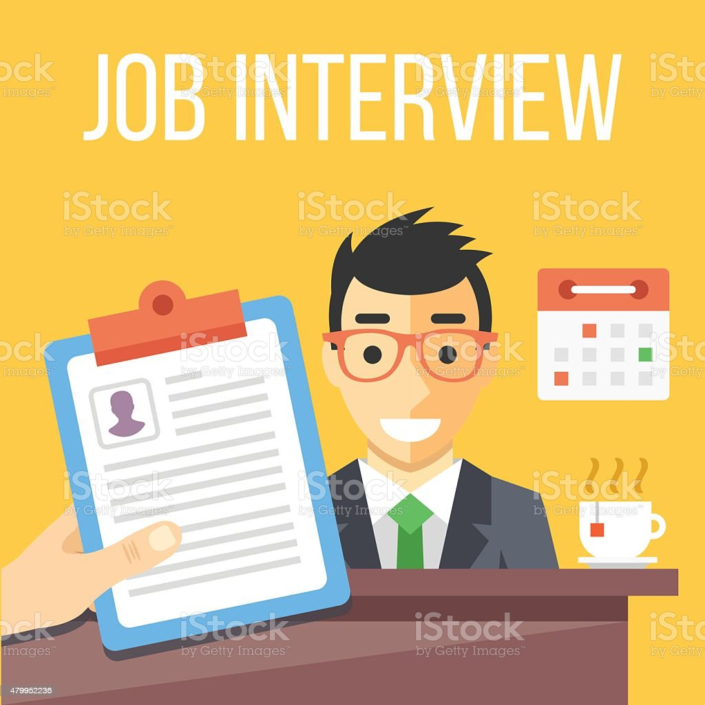 Job interview flat illustration vector art illustration